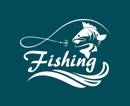 Emblème de pêche avec des graves, des vagues et du crochet Banque d'images - 83767126