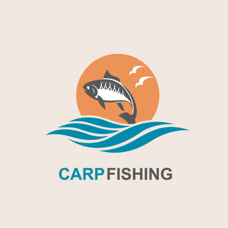 ocean waves: Icon of carp fish with waves. Vector illustration. Illustration
