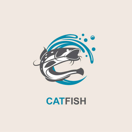 Icon of black catfish with blue waves