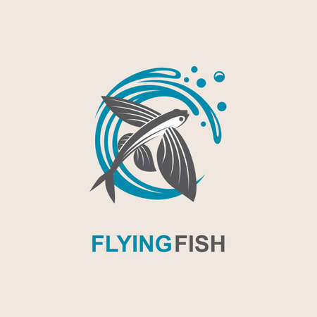 ocean waves: Icon of flying fish with waves Illustration