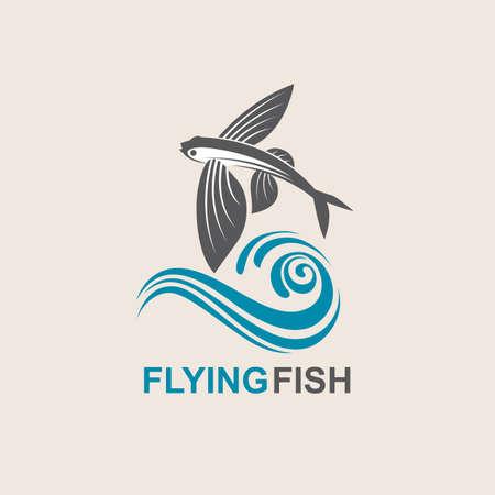 Icône de poisson volant avec des vagues