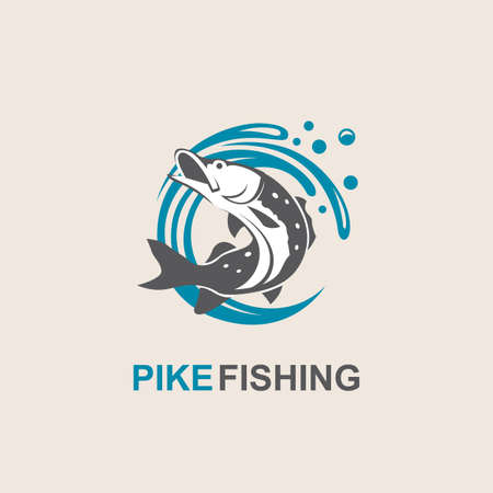 ocean waves: Icon of pike fish with waves