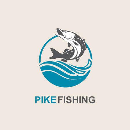 Icon von Hechtfischen mit Wellen Standard-Bild - 83718199