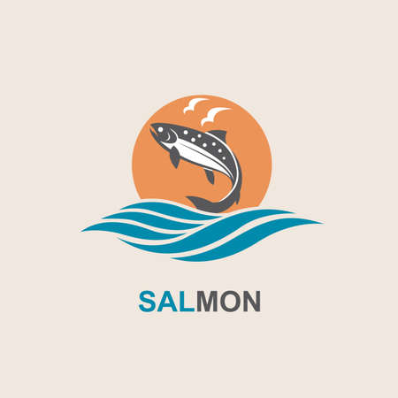 ocean waves: Icon of salmon fish with waves
