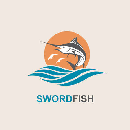 Icon of swordfish with waves for fishing design Illustration