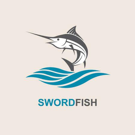 sailfish: Icon of swordfish with waves for fishing design Illustration
