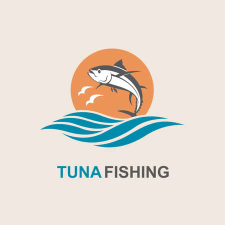 ocean waves: Icon of tuna fish with waves