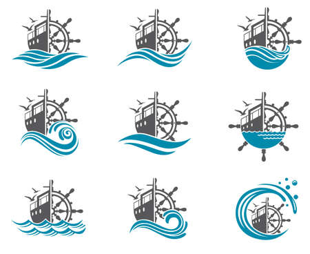 Set of helm wheel image with yacht and sea waves