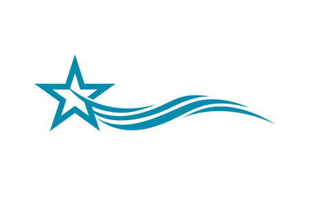 Abstract blue star logo template