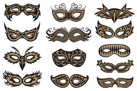 Collection of black isolated carnival masks