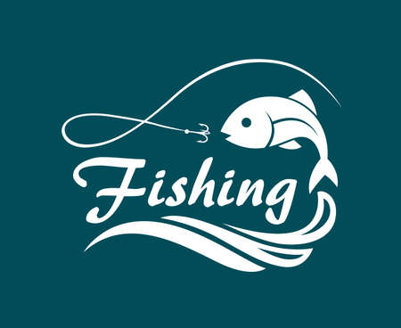 ocean waves: Fishing emblem with fish, waves and hook Illustration