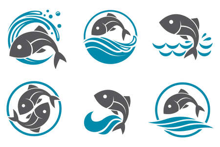ocean waves: Collection of fish icon with waves Illustration