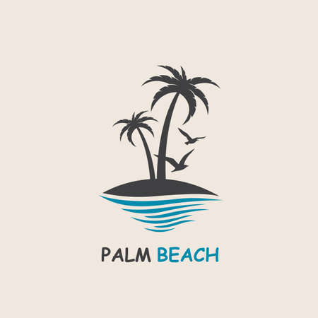 ocean waves: Icon with palm trees silhouette on island Illustration