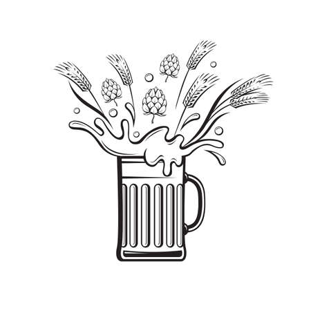 barley hop: Black illustration of beer glass with hops and barley ear