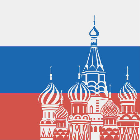 Illustration of Moscow Saint Basil Cathedral on background Russian flag Ilustrace