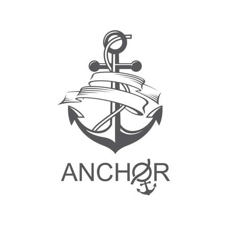 monochrome icon of anchor with ribbon