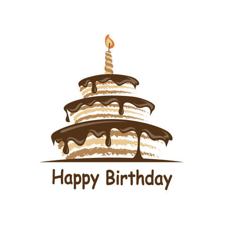 design of birthday cake with candle
