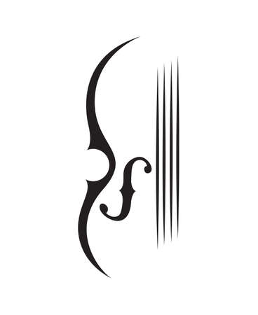 Abstract monochrome illustration of violin.