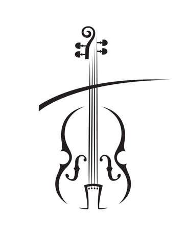 Abstract monochrome illustration of violin.