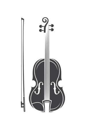 Monochrome illustration of violin with bow