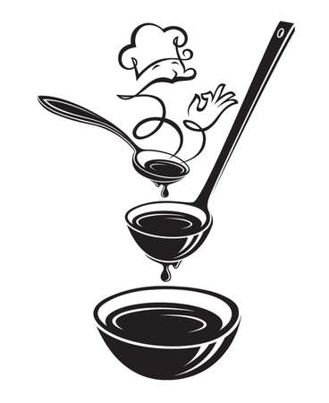 Monochrome illustrations of spoon, ladle, plate and steam. Illustration