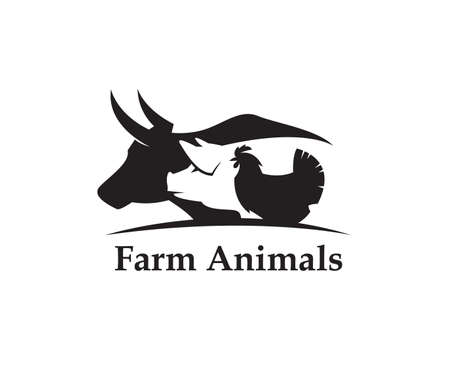 Monochrome label of farm animals cow, pig and chicken Illustration