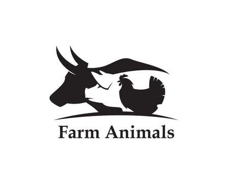 Zwart-wit etiket van landbouwhuisdierenkoe, varken en kip Vector Illustratie
