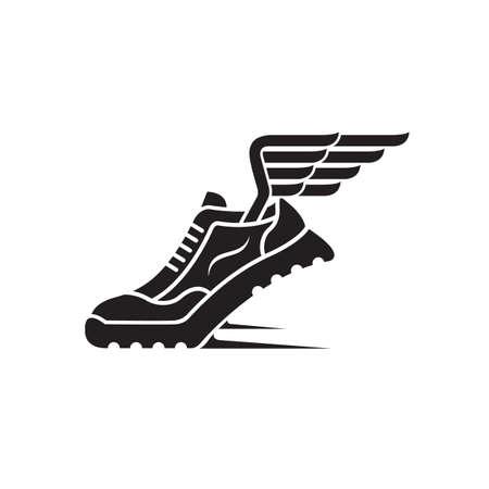 speeding running sport shoe icon with wings Stok Fotoğraf - 86819188