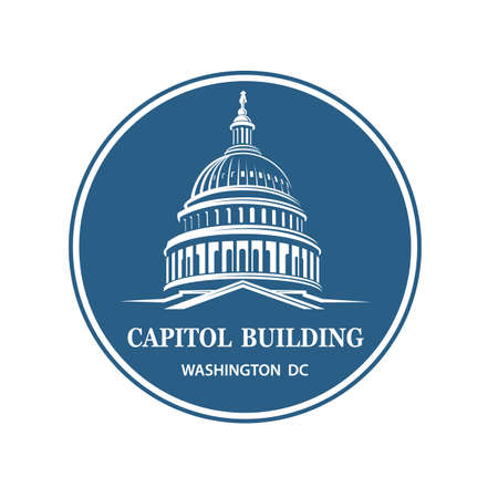 United States Capitol building icon in Washington DC 矢量图像