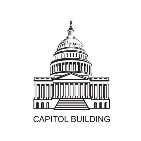 United States Capitol building icon in Washington DC Stock Illustratie