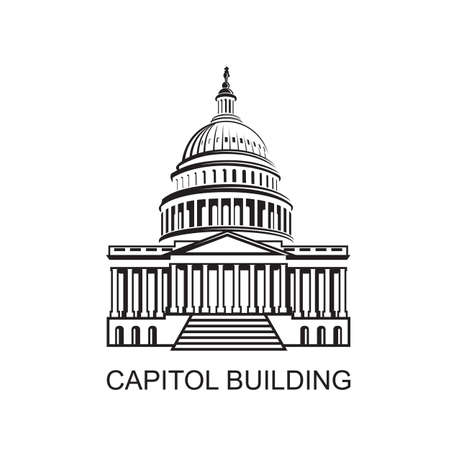 United States Capitol building icon in Washington DC 向量圖像