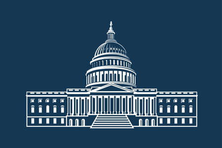 United States Capitol building icon in Washington DC Stock Illustratie