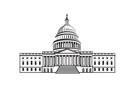 Vereinigte Staaten Capitol Gebäude-Symbol in Washington DC Vektorgrafik