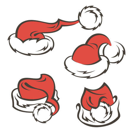 collection of Santa Claus hats isolated