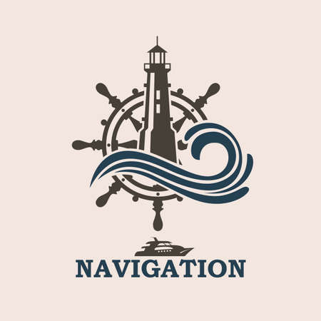 icon of yacht helm wheel and lighthouse with sea waves