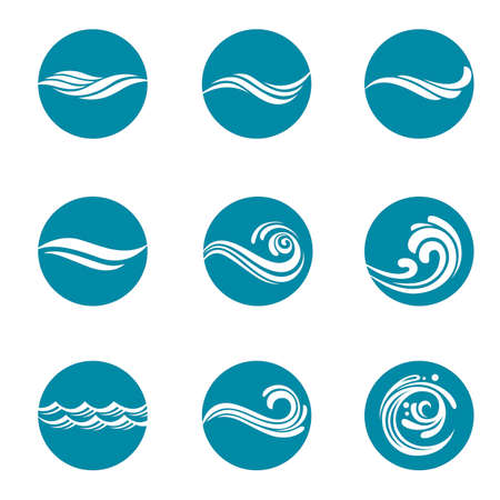collection with abstract symbols of blue water splash Illustration
