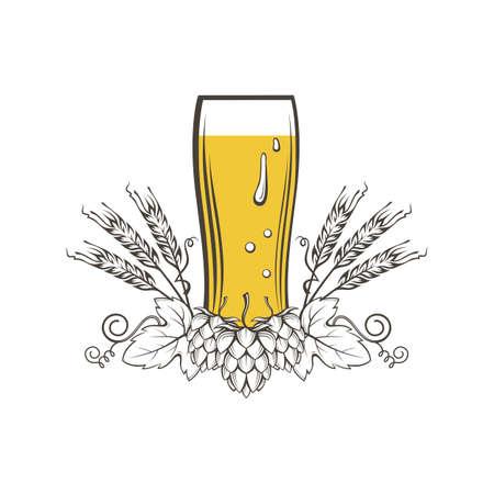 illustration of beer glass, hops and barley ears Ilustrace