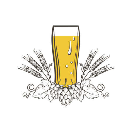 illustration of beer glass, hops and barley ears Illustration