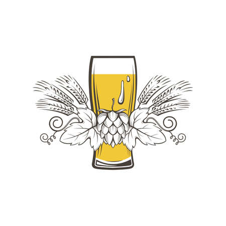 illustration of beer glass, hops and barley ears Illustration