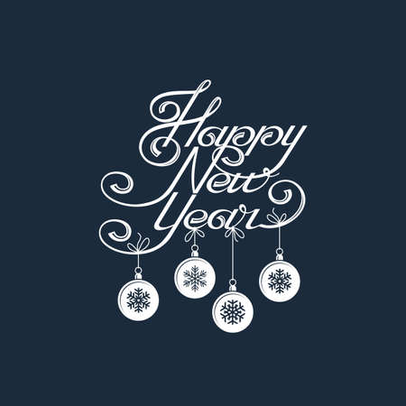 Lettering design of Happy New Year with snowflakes.