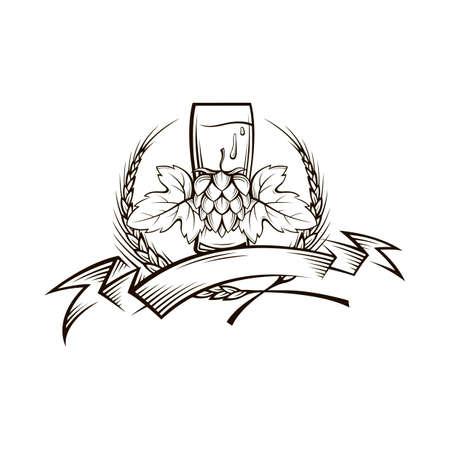 Illustration of beer glass, hops and barley ears