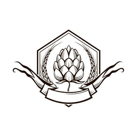 black illustration of hop and barley ear for brewing Illustration