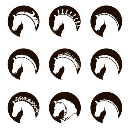 monochrome collection of heads with different manes