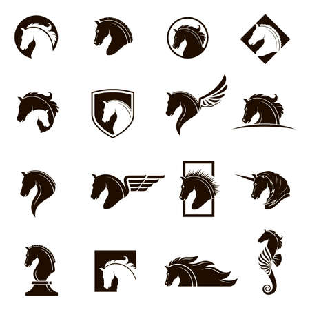 Collection of horse head icons.