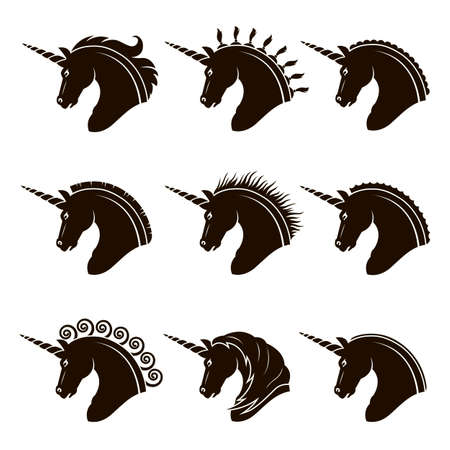 monochrome collection of unicorn heads with different manes Illustration