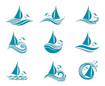 collezione di icone di barche a vela e onde oceaniche con gabbiani