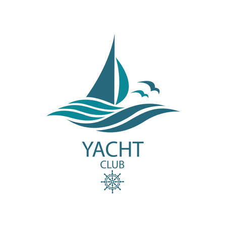 icon of sailing yacht and ocean waves with seagulls Vectores