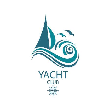Icono de yate de vela y las olas del mar con gaviotas Foto de archivo - 89513623
