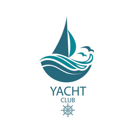 ikona jachtów żaglowych i fal oceanu z mew Ilustracje wektorowe