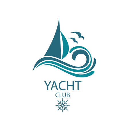 icon of sailing yacht and ocean waves with seagulls Stock Illustratie
